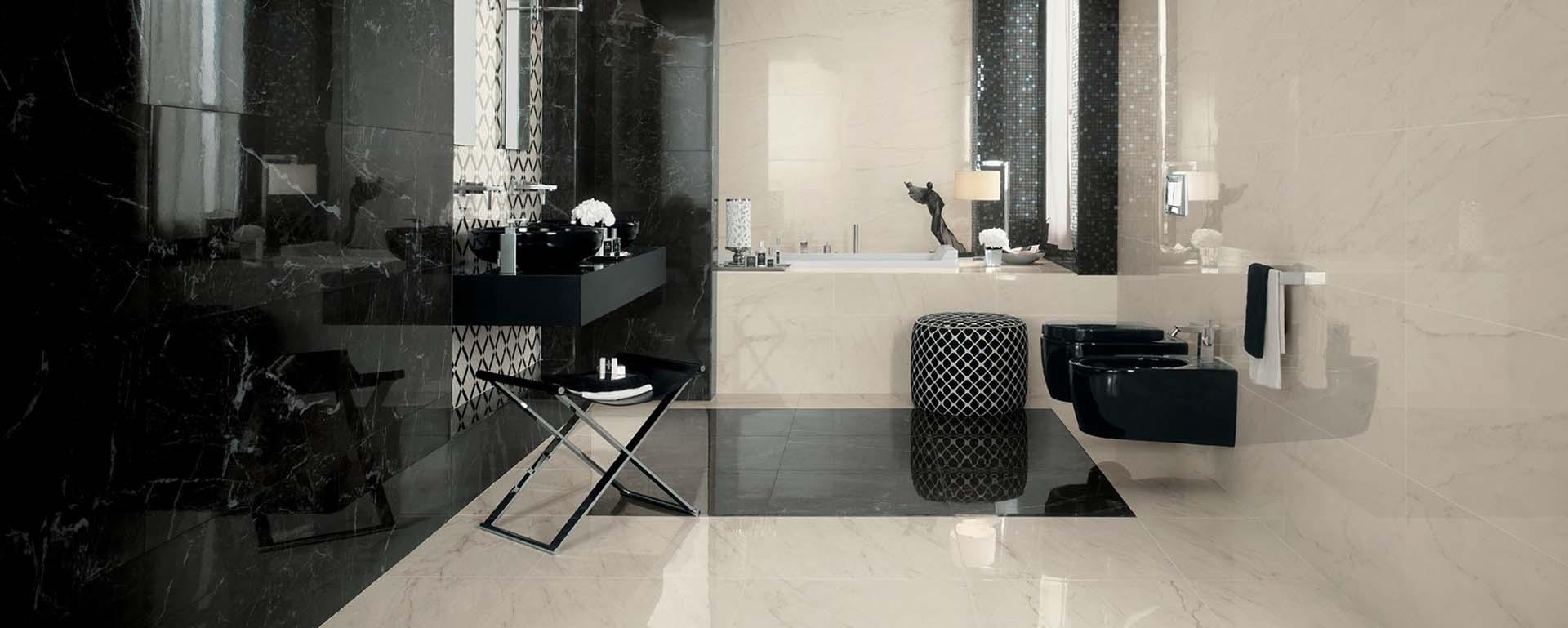 Rivestimenti Leroy Merlin Bagno candiano venceramica - pavimento effetto marmo nero
